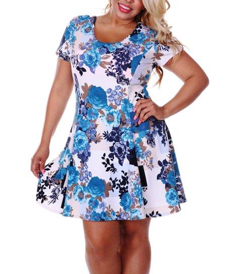 Blue & Navy Rose Bouquet Scoop Neck Dress - Plus