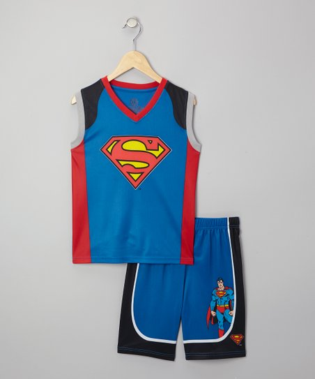 Blue Superman Mesh Pajama Set - Boys