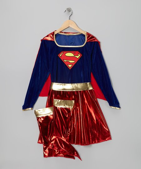 Red & Blue Supergirl Metallic Dress-Up Set - Girls