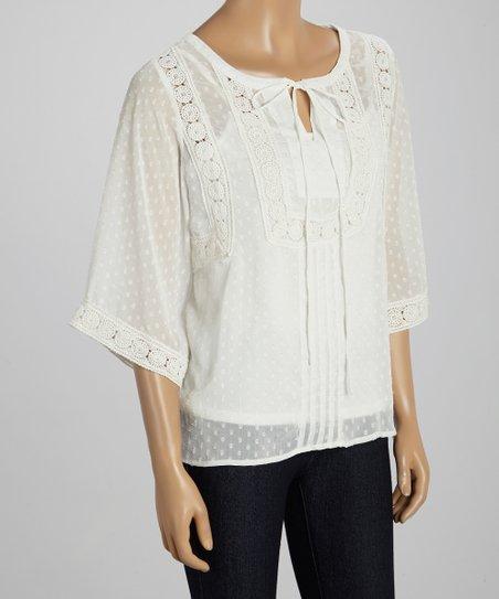 White Dot Semi-Sheer Embellished Top