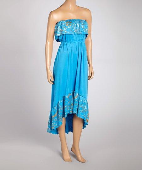 Teal & Gold Ruffle Strapless Hi-Low Dress