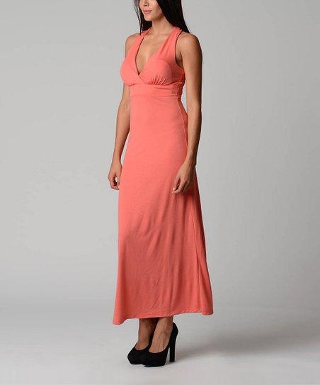 Coral Crisscross-Back Maxi Dress