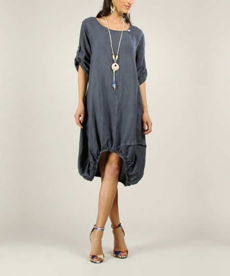 Navy Linen Ruched Dress