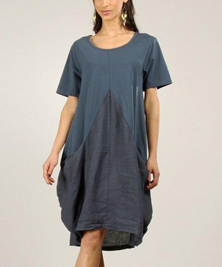 Navy Tapered Linen Shift Dress