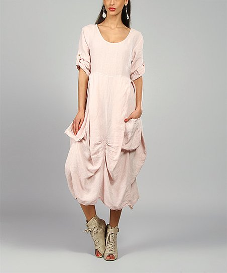 Pink Pamela Linen Scoop Neck Dress