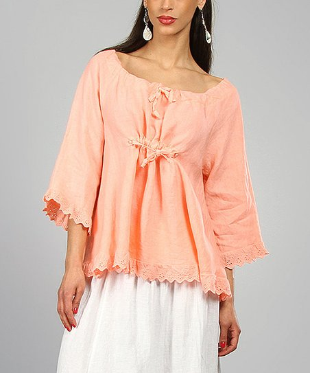Apricot Marie Linen Peasant Top