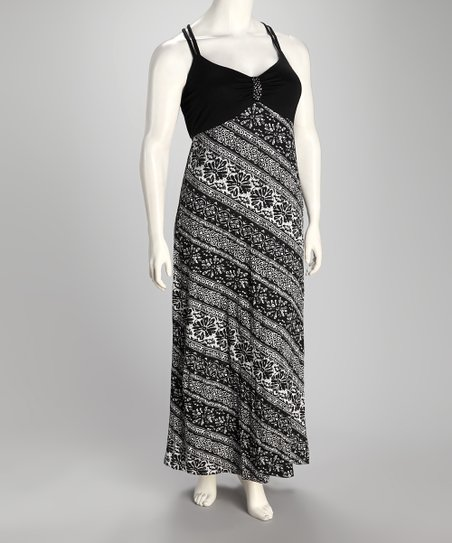 Black Floral Stripe Plus-Size Maxi Dress