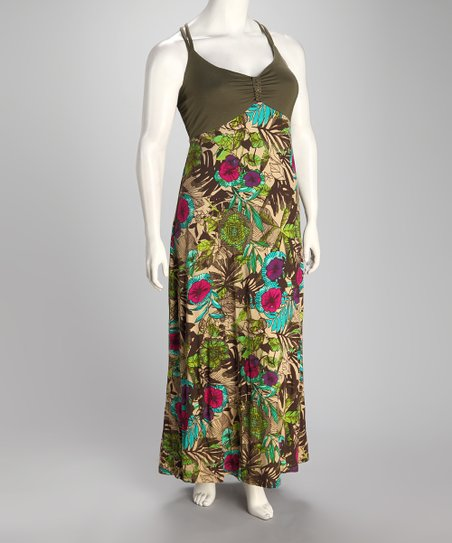 Green Floral Fatigue Plus-Size Maxi Dress