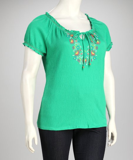 Vibrant Green Embroidered Plus-Size Top