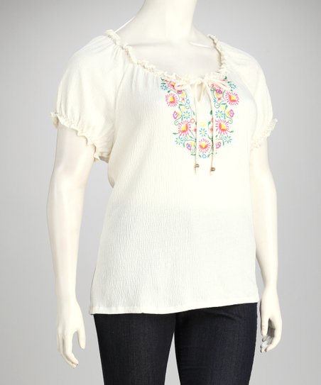 Spring Ivory Embroidered Plus-Size Top