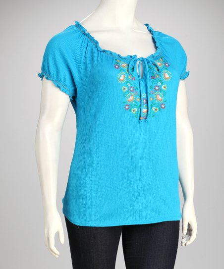 Techno Turquoise Embroidered Plus-Size Top