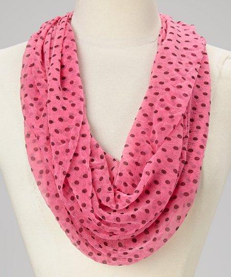 Pink & Black Polka Dot Infinity Scarf