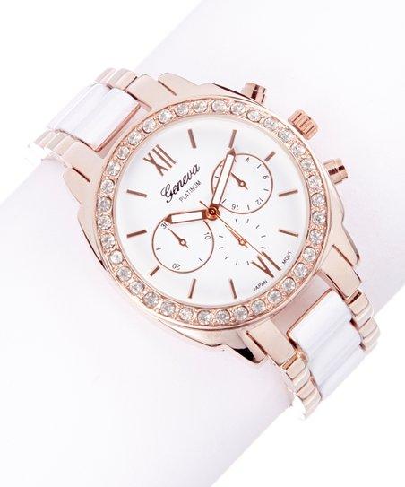 Gold & White Pastel Rhinestone Bracelet Watch