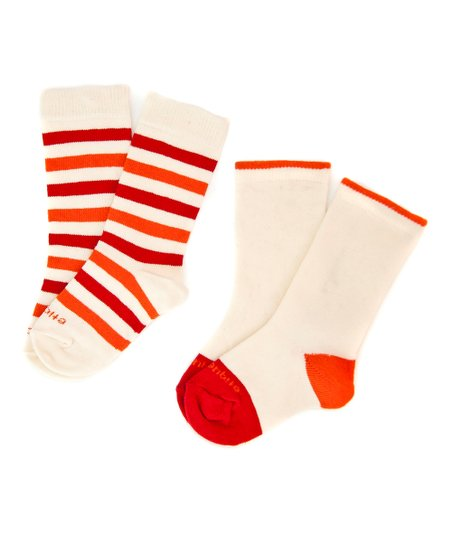 Orange Peel Happy Stripe Socks Set