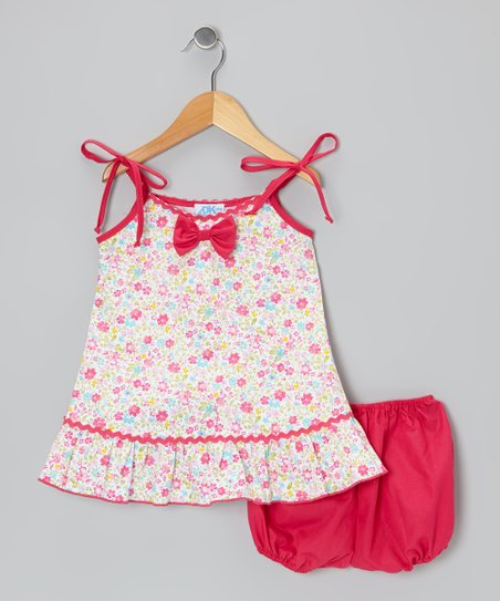 White & Fuchsia Bow Dress - Infant & Girls