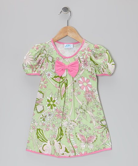 Green & Pink Bow Puff-Sleeve Dress - Toddler & Girls