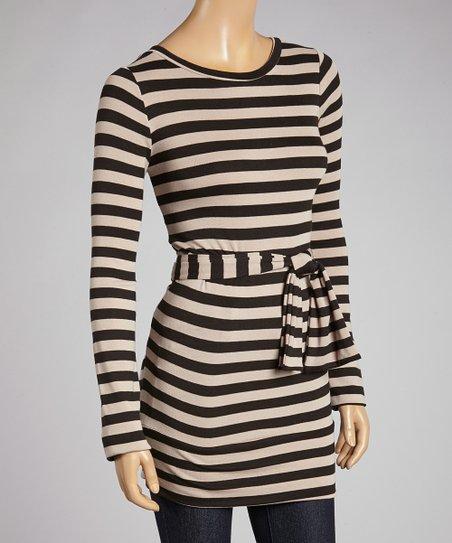 Black & Mocha Stripe Tamar Tie-Waist Tunic