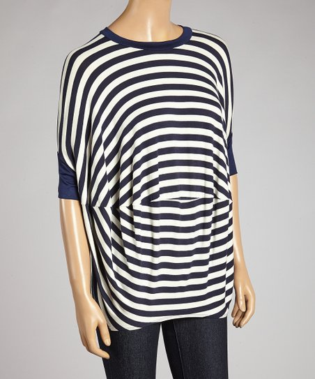 Navy & White Stripe Bella Dolman Top