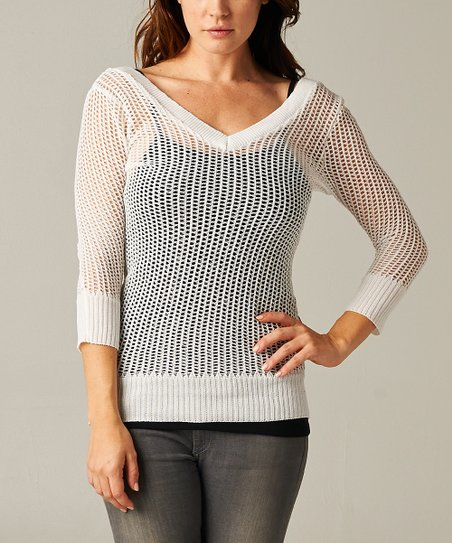 White Sheer Knit V-Neck Sweater