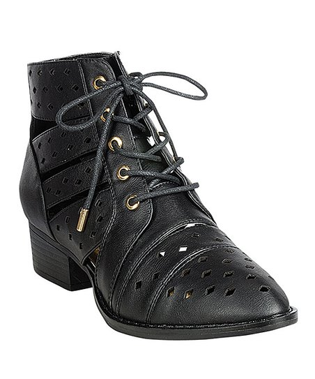 Black Cutout Stealth Ankle Boot
