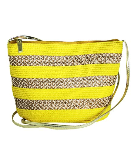 Yellow & Natural Stripe Straw Crossbody Bag