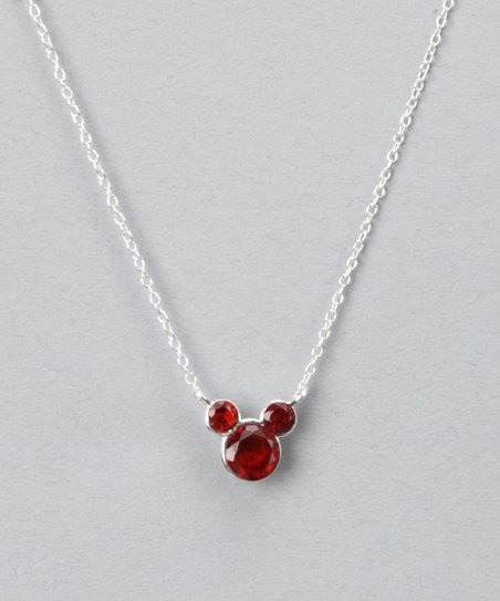 Sterling Silver January Birthstone Mickey Necklace