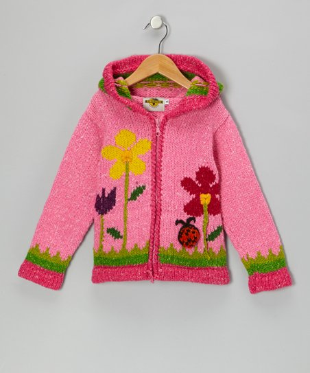 Pink Ladybug Zip-Up Wool-Blend Hoodie - Toddler & Girls