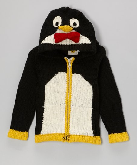 Black Penguin Wool-Blend Zip-Up Hoodie - Toddler & Kids