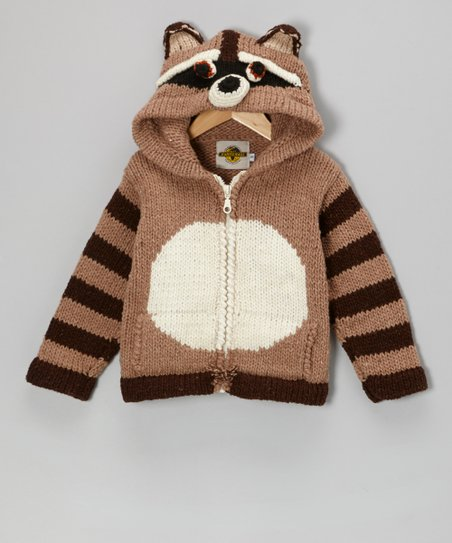 Brown Raccoon Wool-Blend Zip-Up Hoodie - Kids