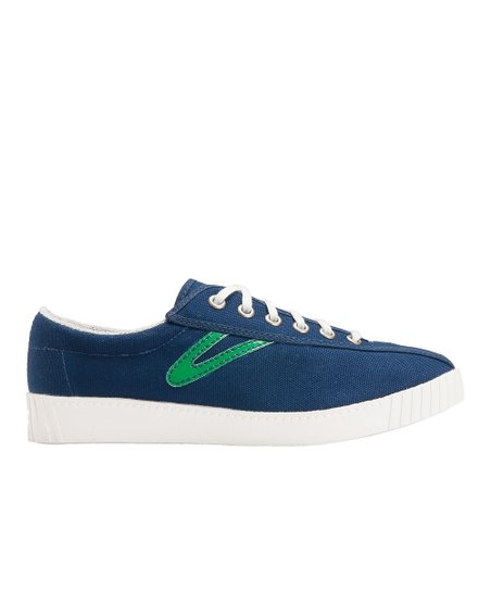 Navy Blue & Green Nylite Canvas Sneaker - Women