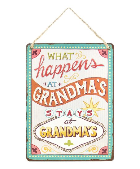 'What Happens At Grandma's' Wanderlust Wall Sign