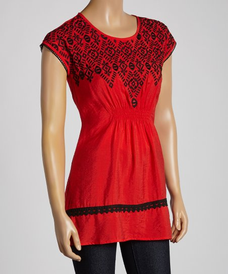 Red Embroidered Shirred Top