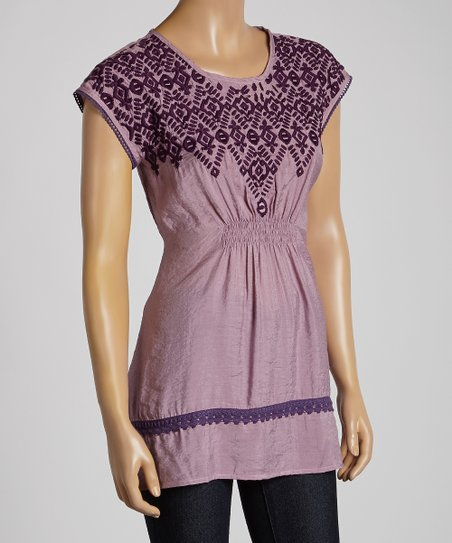 Lilac Embroidered Shirred Top