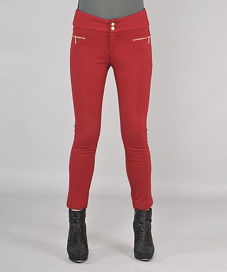 Red Zipper Skinny Pants