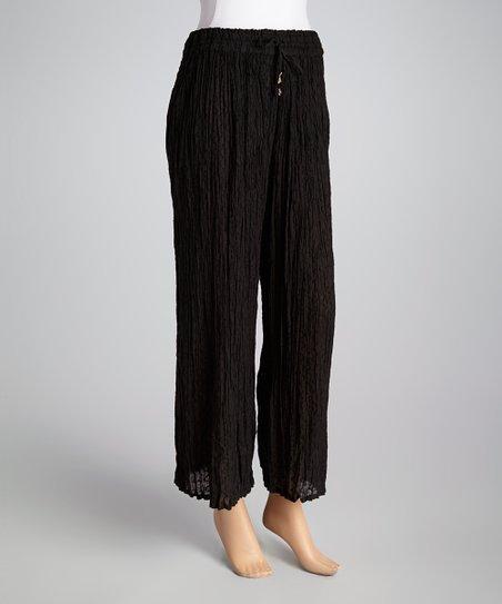 Black Drawstring Maxi Pants - Women