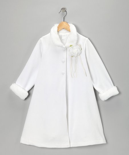 White Rosette Coat - Infant, Toddler & Girls