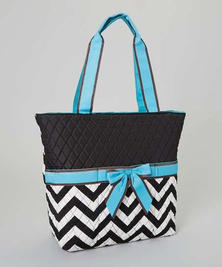 Black & Turquoise Zigzag Quilted Diaper Bag