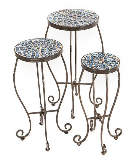 Charcoal Tremiti Mosaic Plant Stand Set