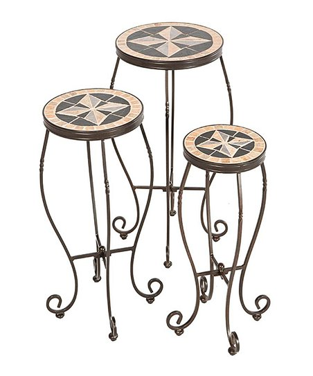 Charcoal Formia Mosaic Plant Stand Set