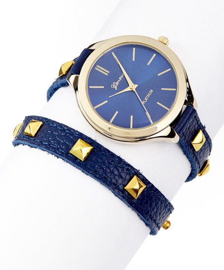 Blue & Gold Pyramid Stud Leather Wrap Watch