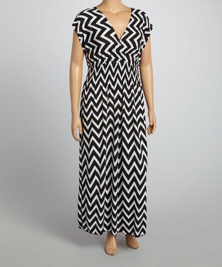 Black & White Zigzag Surplice Dress - Plus