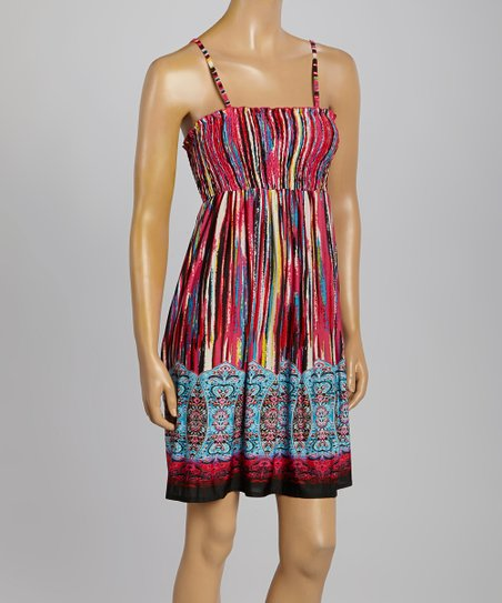 Pink & Blue Stripe Ruched Empire-Waist Dress