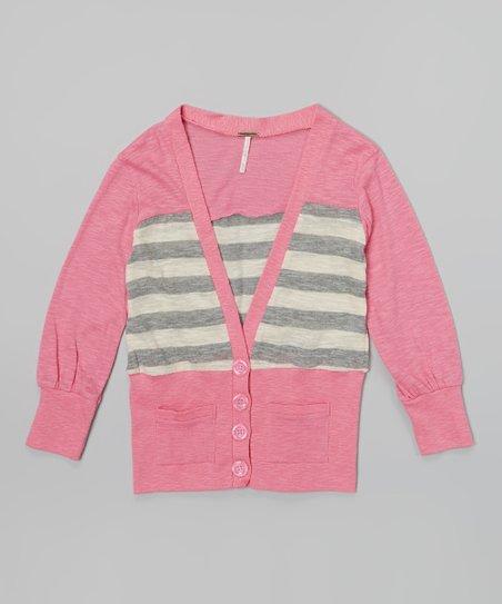 Blush Pink & Gray Stripe Cardigan