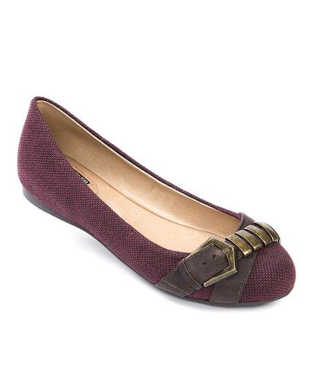Burgundy Adrian Leather Flat