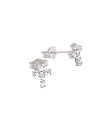 Sparkle & Sterling Silver Cross Stud Earrings