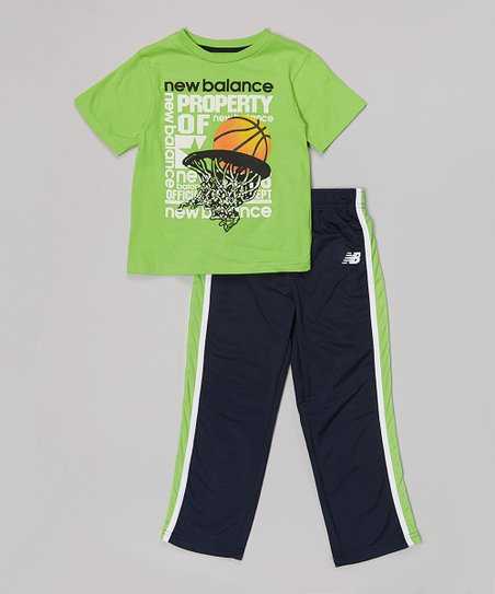 Lime Basketball Tee & Navy Track Pants - Infant, Toddler & Boys