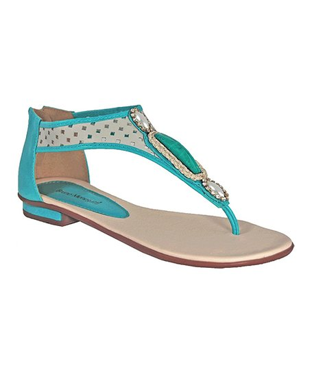 Turquoise Braided Charms Leather Sandal