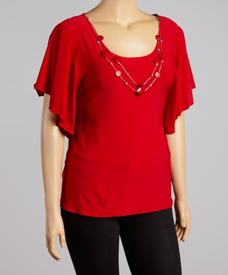 Red Necklace Cape-Sleeve Top - Plus