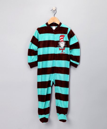 Aqua Stripe Cat in the Hat Footie - Infant