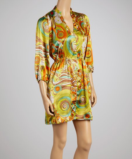 Green & Orange Retro Dress